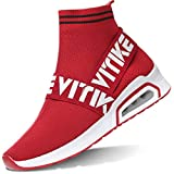 VITIKE Women's Knit Speed High Top Sock Sneakers Youth Girls Stylish Breathable Lightweight Walking Shoes Air/Red, 10.5