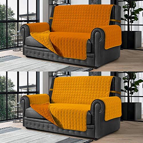 Banzaii Cubre Sofá – Funda Sofá Acolchada Reversible – 2 Plazas Amarillo Y Oro para Asiento de 115 a 140 cm