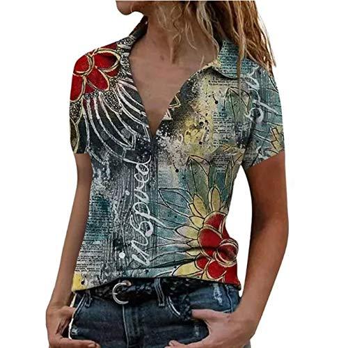 Women's Casual Zipper Lapel Color Blocking Short-Sleeve Shirt Slim fit Basic V-Neck Tee Shirts Tee Tops Tunic Blouse