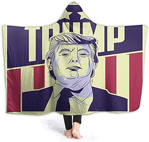 Superweiche Fleecedecke mit Kapuze, Bademantel USA Präsidentschaftswahl Donald Trump Spa Bademantel Sweatshirt Fleece Pullover Decke Herren Damen 100 x 130 cm