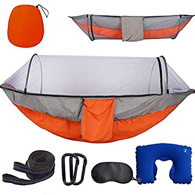 Camping Hammock with Mosquito Bug Netting,Packable Hammock with Tree Straps and Carabiners,Parachute Nylon Hanging Swing Hammock for Backpacking,Survival,Travel & More(Single & Double)-Orange&Grey