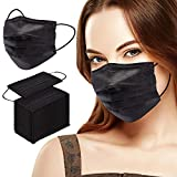 Black Disposable Face Mask 100 Pack 3 Ply Breathable Dust Masks for Adults