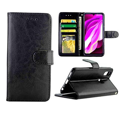 GGQQ YDYX AYDD - Funda de piel para Vivo Y19, U3, Y5s, U20 con textura de caballo loco con soporte, ranuras para tarjetas, cartera y marco de fotos (color: negro)