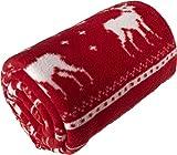 SYC 150x120 cm Kuscheldecke Wohndecke Weihnachtsdeko Wonzimmerdecke rot mit Trageband Flauschige Tagesdecke Weihnachten, Sofadecke Fleecedecke rot Silverster