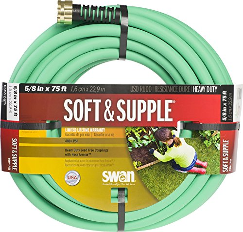 """Swan Products SNSS58075 Soft & Supple Easy Coil Water Hose with Crush Proof Couplings 75' x 5/8"""", Green"""