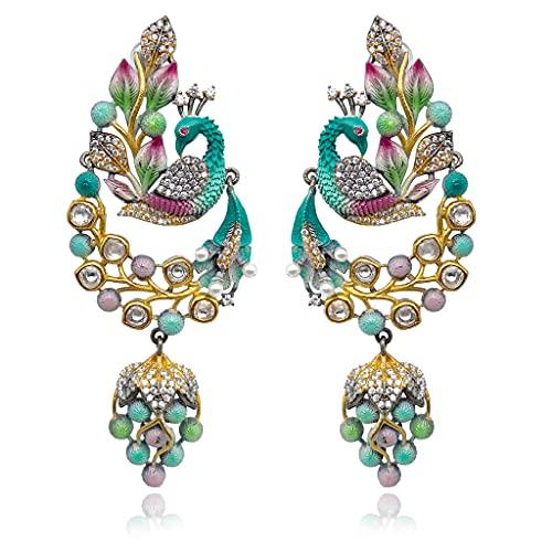 Hathkaam HKAD066 - Pendientes largos chapados en rodio con diamantes americanos, diseño exclusivo para bodas, fiestas en todas las ocasiones