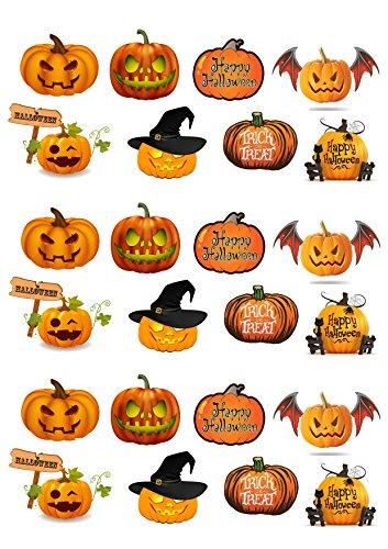 Lot de 24 citrouilles de Halloween plaquette comestibles Papier Cake Toppers décorations