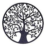 AIOXY decoración de pared de metal árbol de la vida decoración de pared decoración de pared de metal decoración del hogar de metal, gancho de pared 60x60cm negro,Black