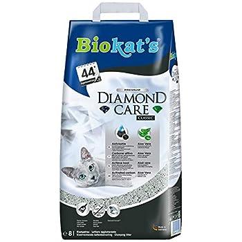 Biokat's Diamond Care Classic, litière pour chats - Litière agglomérante de qualité supérieure pour chats, au charbon actif et à l'Aloe vera - 1 sac en papier (1 x 8l)