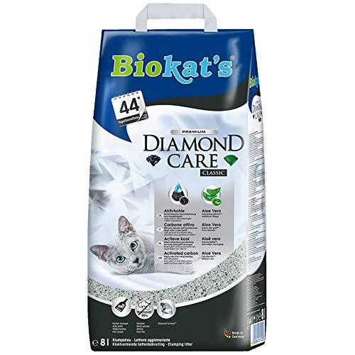 Biokat's Diamond Care Classic ohne Duft - Feine Katzenstreu mit Aktivkohle und Aloe Vera - 1 Sack (1 x 8 L)