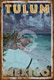 Tin Metal Sign Wall Art Retro Shabby Chic Tulum Mexico Style Wall Decoration Public Sign Poster Plaque 8x12 Inches
