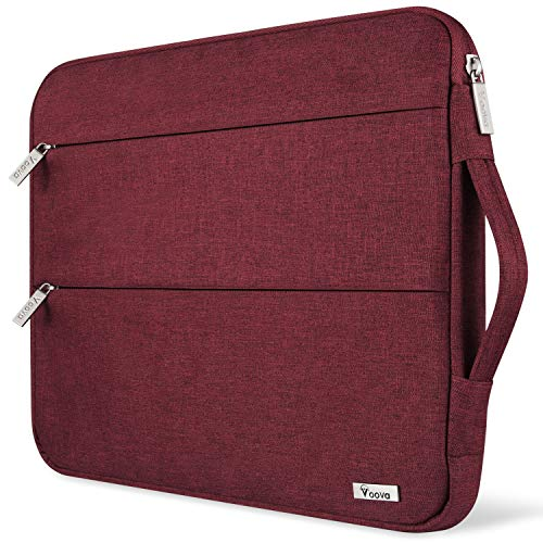 Voova 13 13.3-13.5 Pulgadas Funda Ordenador Portátil, Maletín para MacBook Air 13/Macbook Pro13/Macbook Pro 13 Touch Bar/2019 Surface Laptop 3/2/Surface Book 2,XPS 13 con Asa, Hombre & Mujer, Rojo