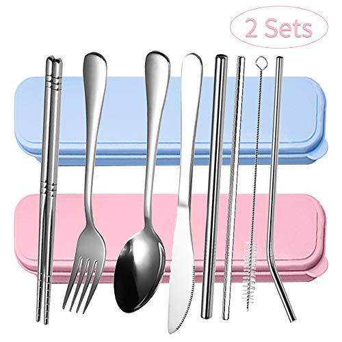 QearFun Bestekset voor camping, draagbaar reisgerei, roestvrij staal, bestekset met mes en vork, lepel, houder en organizer