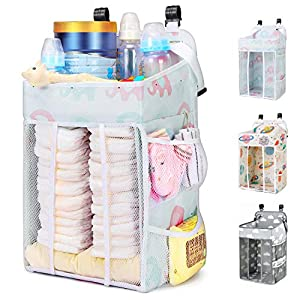 Magicfly Diaper Caddy Organizer Hanging, Changing Table Diaper Organizer, Crib Organizer Hanging for Baby Boys and Girls, Large Capacity Nursery Diaper Holder, Elephant