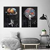 MJKLU Graffiti Street Pop Art Espacio Abstracto Sueño Astronauta Nave Espacial Planetas Estrellas Lienzo Pintura Póster de Pared Dormitorio Sala de Estar Oficina Estudio Decoración del hogar