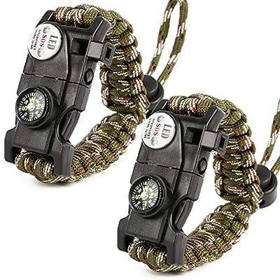 PROLOSO 2 Pcs Paracord Bracelets 20 in 1 Emergency Survival Gear Kit SOS LED Flashlights Flint Fire Starter, Whistle, Compass & Scraper Wilderness Survival Gear