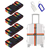 4Pcs Premium Rainbow Sangle Bagage, Ceinture Valise Réglable, Sangle Valise Voyage Ceinture Croisée avec 2Pcs Étiquette...