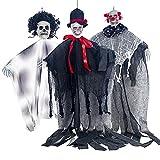 3 Pièces Halloween Suspendu Crâne Décoration Suspendu Squelette Fantôme Faucheuses Halloween Décorations pour Maison Hantée Prop Décor Halloween Cour En Plein Air Fête Bar