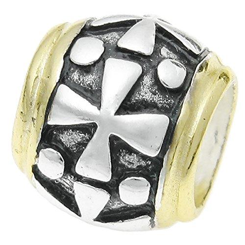Antqiue - Cuentas de plata de ley 925, diseño de cruz cristiana, para