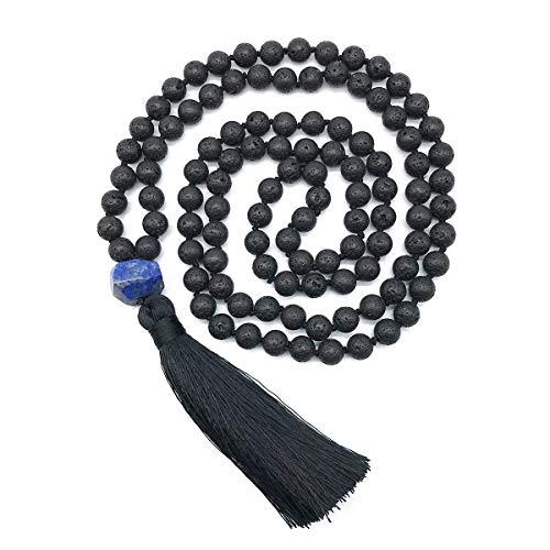 Mala Beads 108 8mm Black Lava Rock Necklace Hand Knotted Lava Beads Mala Meditation Yoga Necklace Prayer Beads Japa Mala Tassel Necklace (Lava Stone +lazurite)