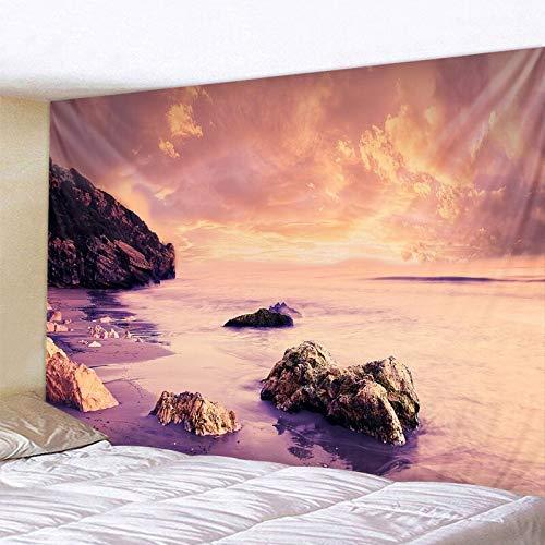 KHKJ Tapiz de Playa Tropical Estilo del Norte de Europa Tapiz de Cielo Estrellado Tapiz Hippie Decoración de Dormitorio Tapiz psicodélico A18 130x150cm