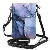 Bolso de cuero ligero de la PU pequeño bolso de Crossbody mini bolsa del teléfono celular bolsa de hombro con correa ajustable Cautivante alcohol tinta pintura