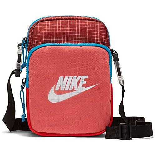 Nike Heritage - Bolso de mano, diseño de cuadros, color rojo