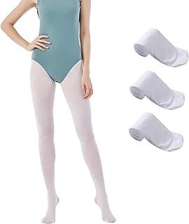 MANZI 3 Paare Damen Mädchen Strumpfhose Ballett Tanz Strumpfhosen mit Fuß 40 Den