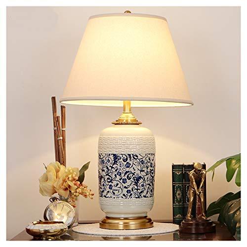 Lámpara de mesa LED, lámpara de escritorio, protección ocular, luz de lectura en la cama, lámpara de mesa, lámpara de mesa china azul y blanca, porcelana, lámpara de mesa Jingdezhen pintada a mano