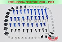VITCIK ホンダ Honda NSR250R MC21 SP P3 1990 1991 1992 1993 NSR 250 R 90 91 92 93 オートバイ用フルフェアリングボルトネジキット ファスナー CNC アルミクリップ (ブルー & シルバー)