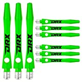 RED DRAGON DRX Coated Aluminium Short Green Logo Dart Stems (Shafts) - 2 Sets per Pack (6 Stems in total)