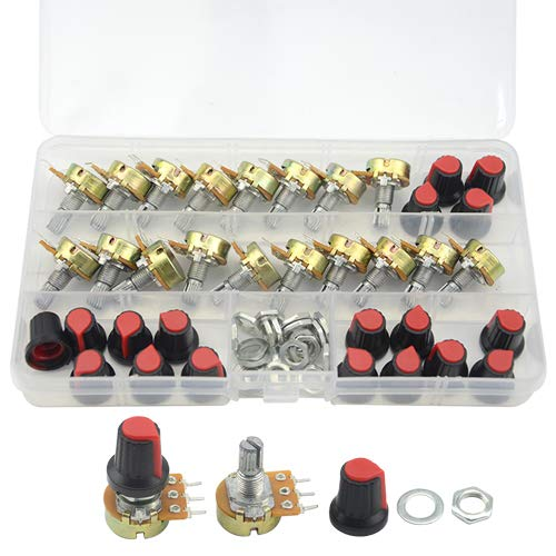 Amazon.com - 18pcs B1K B2K B5K B10K B20K B50K B100K B500K B1M Ohm Shaft Linear Potentiometer with Cap Kit