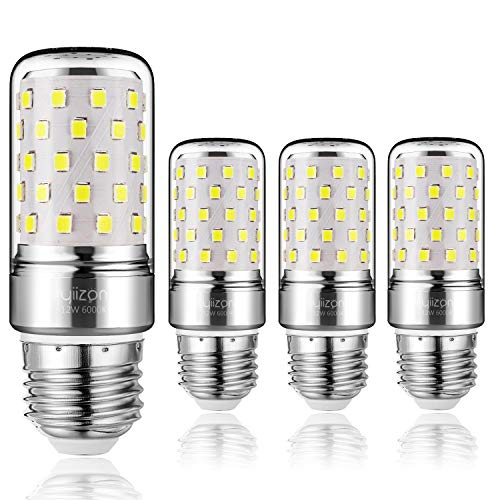 Yiizon LED Mais Glühbirne, E27, 12W, entspricht 100 W Glühlampe, 6000 K Kaltweiß, 1200LM, CRI>80 +, kleine Edison-Schraube, nicht dimmbar Kandelaber LED Glühlampen(4 PCS)
