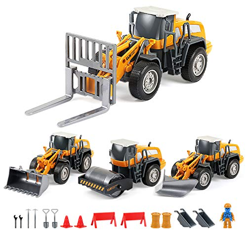 BeebeeRun 4-in-1 DIY Take Apart Cars Toys,Construction Engineering Trucks Set with Forklift Snowplow Bulldozer and Steamroller, Pretend Learning Toys Building Play Set for Kids Children