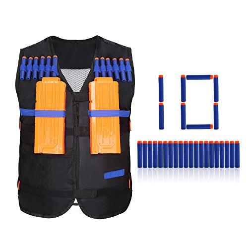 Yosoo Los niños Elite Vest para Nerf N-Strike Elite + 10pcs Espuma Suave Dardos Dart para Nerf N-Strike Elite +2 Clips de Pistola No para Nerf N-Strike Elite (Negro)
