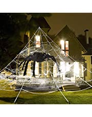 UNGLINGA Giant Yard Halloween Decor Outdoor Spider Web with Big Spider and Stretch Cobweb Set Party Outside Decor Favor Triangle Mega Web 2.7 x 5.2 m
