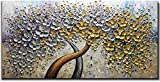 WKART Árbol de Flores Cuadros al oleo Pintados a Mano,Grande Acrílico Cuadros Baratos Modernos Abstractas Árbol de Oro y Plata, Cuadro Decorativos Sala para Recamara,Sin Marco (70x140cm)