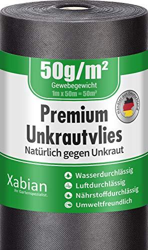 Xabian Anti Unkrautvlies 50g/m² Gartenvlies Rolle 50m x 1m = 50m² | Unkrautfolie sehr hohe UV-Stabilisierung - reißfest und wasserdurchlässig