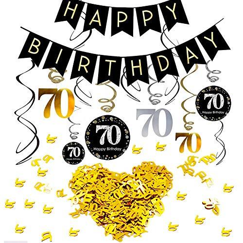 INTVN 70.Geburtstag Dekoration Set, Alles Gute zum Geburtstag Banner Konsait Gold Schwarz Silber Deko 70. Geburtstag Swirl Spiralen Girlanden zum Aufhängen Zahl