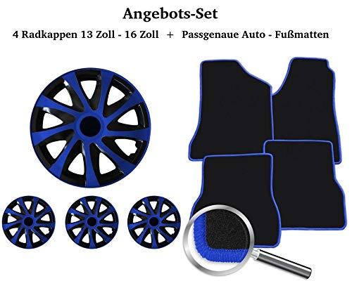 Auto-Fußmatten Set Schwarz-Blau inklusive 4 Stück Radkappen 13