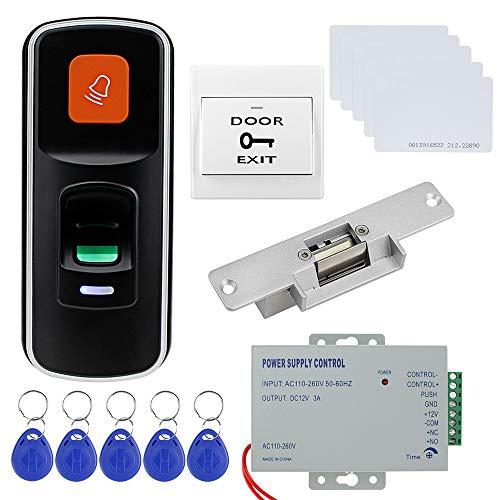 Dongyang Mini Controlador de Acceso Biométrico de Huellas Dactilares RFID Huella Digital Independiente con Cerradura NC, Fuente de Alimentación DC12V, Botón de Salida de Puerta, 10pcs llaveros