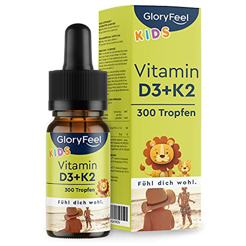 Vitamin D3 K2 Tropfen für Kinder ab 4 Jahren - 100% Vegan für 10 Monate - 500 IE Vitamin D aus Flechten & 25µg Vitamin K - Ohne jegliche Zusätze, laborgeprüft in Deutschland hergestellt