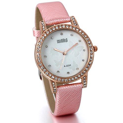 JewelryWe Damen Mädchen Armbanduhr, Analog Quarz, Exquisit Elegant Leder Armband Uhr mit Strass Schmetterling Zifferblatt, Pink Weiss