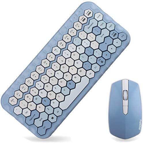 Combinación de Mini Teclado y Mouse inalámbricos de 2.4 GHz, Tapas de Teclas en Forma de Panal, Rosa Pastel, Azul, Verde (Azul)
