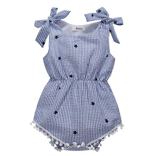 MiyaSudy Neugeborene Baby Mädchen Kleidung Prinzessin Bowknot Gestreift Sommer Party Spielanzug Strampler Bodys Einteiler (0-6 Monate)