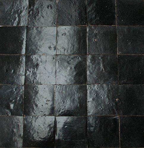1m² schwarze Zellige Fliesen 10x10x1,2cm - Handarbeit maurische Wandkacheln Mosaikfliesen