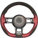 JI Loncky Genuine Leather Black Suede Auto Custom Steering Wheel Covers for 2015-2018 Volkswagen VW Jetta GLI / 2015-2017 Volkswagen Golf R / 2015-2018 VW Golf 7 MK7 GTI Interior Accessories Parts