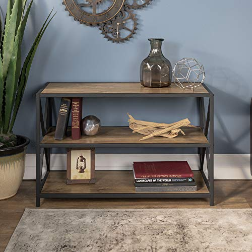 Walker Edison Furniture Company 2 Tier Open Shelf Industrial Wood Metal Bookcase Tall Bookshelf Home Office Storage, 40 Inch, Barnwood Brown