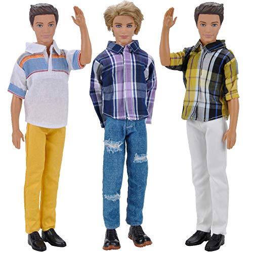 Amyove 3 Stücke Männer Outfits Tägliche Freizeitkleidung Bluse Hose Kleidung Set für 32 cm Boy Puppe Spielzeug Zubehör Geschenke #4 for 32cm doll