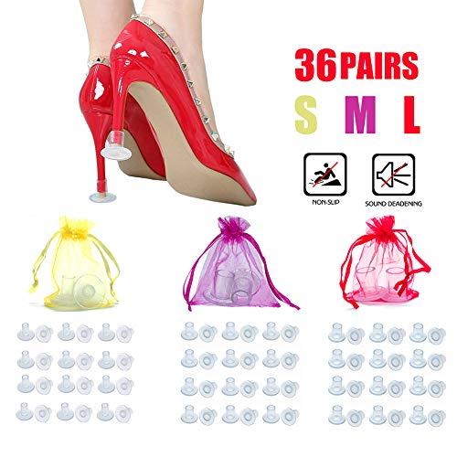 STN 36 Pairs Protector de Tacón Alto, Tacos para Tacones, Protectores Zapatos de Mujer Bodas, Carreras Protección contra Césped, Grava, (S, M, L)